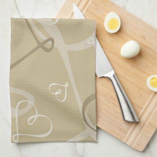 Gold heart pattern towels