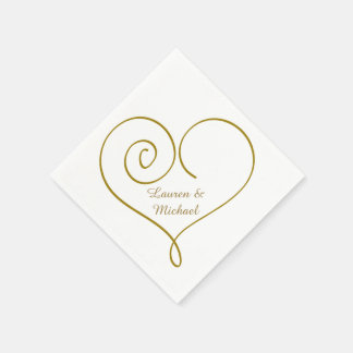 Gold Heart Personalized Wedding Paper Napkin