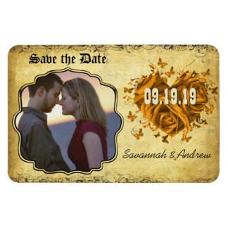 Gold Heart Roses & Buttterflies Save the Date Magnet