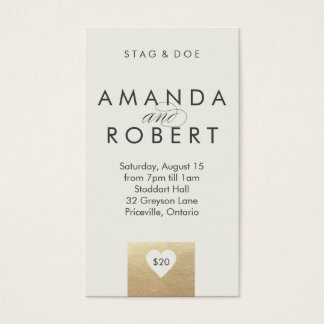 Gold Heart Stag & Doe Ticket, Cream Business Card