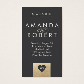 Gold Heart Stag & Doe Ticket, Grey Business Card