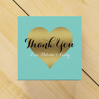 Gold Heart Teal Blue Party Favor Boxes