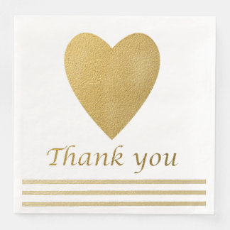 Gold Heart Thank You Paper Napkin