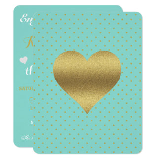Gold Heart Tiffany Teal Blue Party Invitation