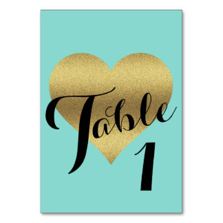 Gold Heart Tiffany Teal Blue Party Table Cards