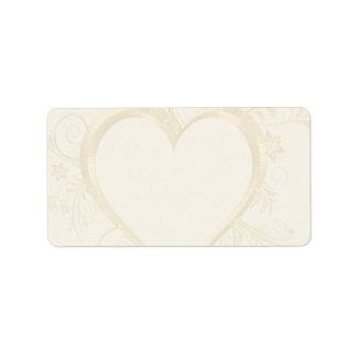 Gold Heart Wedding Label