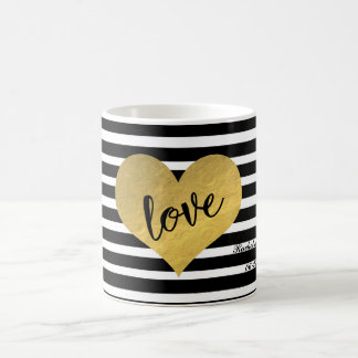 Gold Heart With Love Typography And Stripes Coffee Mug