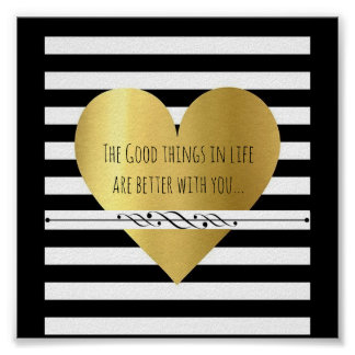Gold Heart with Quote Poster