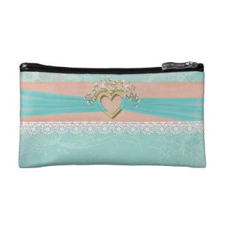 gold heart with ribbon and lace cosmetic bag