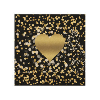 Gold Heart Wood Wall Art
