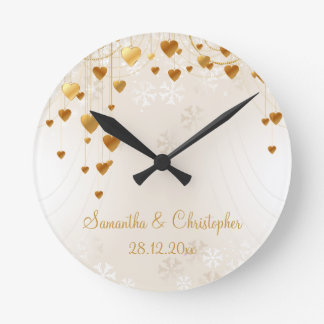 Gold Hearts and Snowflakes Wedding Memento Round Clock