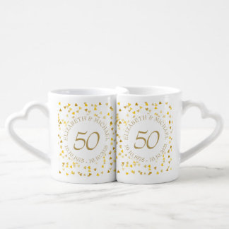 Gold Hearts Confetti 50th Anniversary Coffee Mug Set