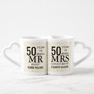 Gold Hearts Confetti 50th Anniversary Mr Mrs Right Coffee Mug Set