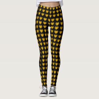 Gold Hearts design pattern leggings