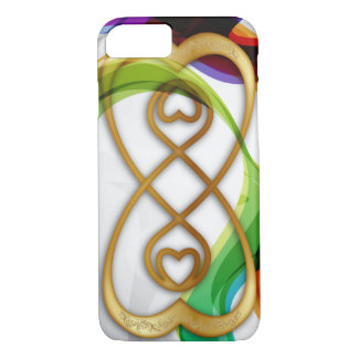 Gold Hearts Double Infinity & Rainbows - iPhone iPhone 8/7 Case