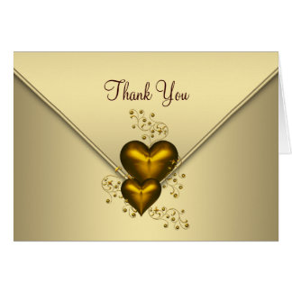 Gold Hearts Gold Thank You Cards