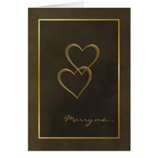 Gold hearts marriage proposal card