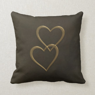 Gold hearts on brown square throw pillow