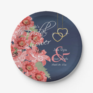 Gold Hearts on Coral & Navy Satin 7 Inch Paper Plate