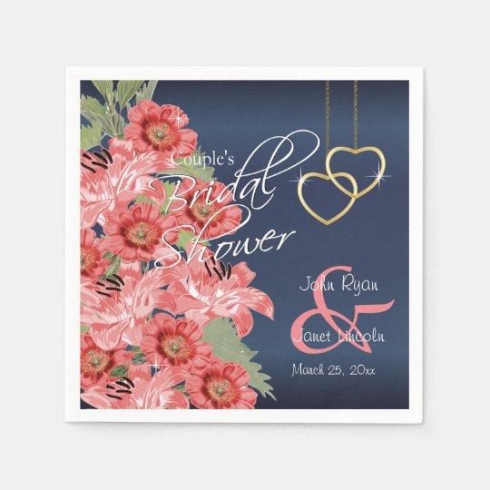Gold Hearts on Coral & Navy Satin -  Bridal Shower Paper Napkin