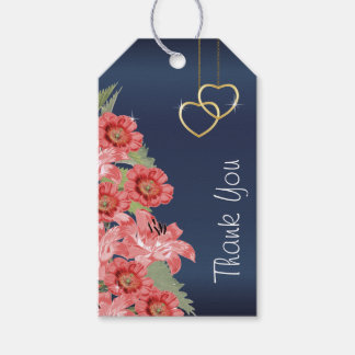 Gold Hearts on Coral & Navy Satin Gift Tags