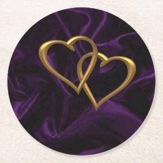 Gold hearts on Purple silk Round Paper Coaster