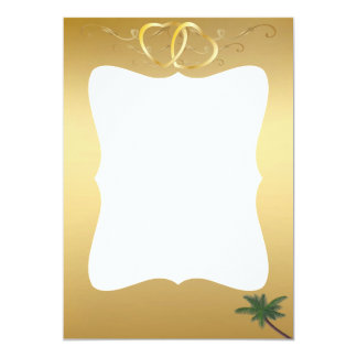 "Gold Hearts & Palm Tree Photo Card 5"" X 7"" Invitation Card"