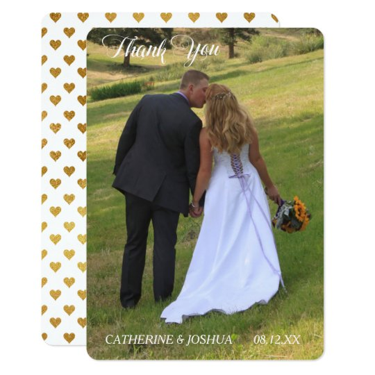 Gold Hearts Photo Template Wedding Thank You