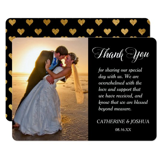 Gold Hearts Photo Wedding Thank You Card