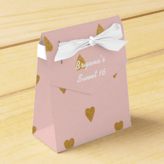 Gold Hearts Pink Birthday Party Favor Boxes