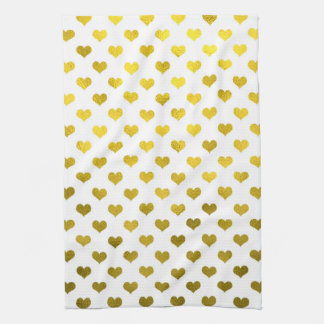 Gold Hearts Polka Dot Heart Metallic Pattern Kitchen Towel