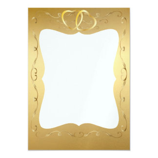 "Gold Hearts Wedding Photo Card 5"" X 7"" Invitation Card"