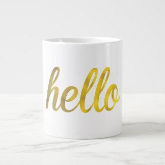 Gold hello typography mug
