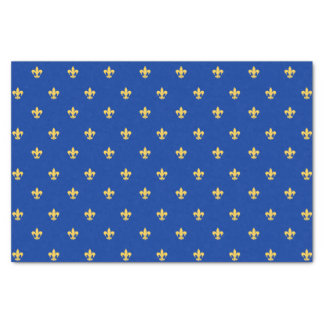 Gold Heraldyc Lilly on Blue Background Tissue Paper