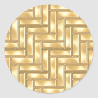 Gold Herringbone Classic Round Sticker