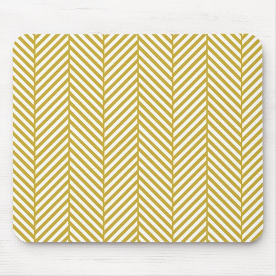 Gold Herringbone Mouse Pad