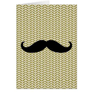 Gold Herringbone Mustache Card