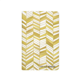 Gold Herringbone Personalized Journal