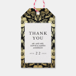 Gold Hibiscus Damask | Elegant Tropical Thank You Gift Tags