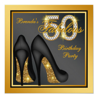 Gold High Heel Shoe Fabulous 50th Birthday Party Card