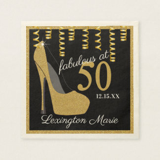Gold High Heeled Shoe Birthday Party With Age Paper Napkin