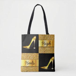 Gold High Heels Diamond Rings Glitter Design Tote Bag