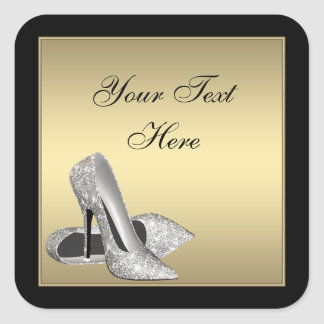 Gold High Heels Envelope Seal Party Favor Labels Square Sticker
