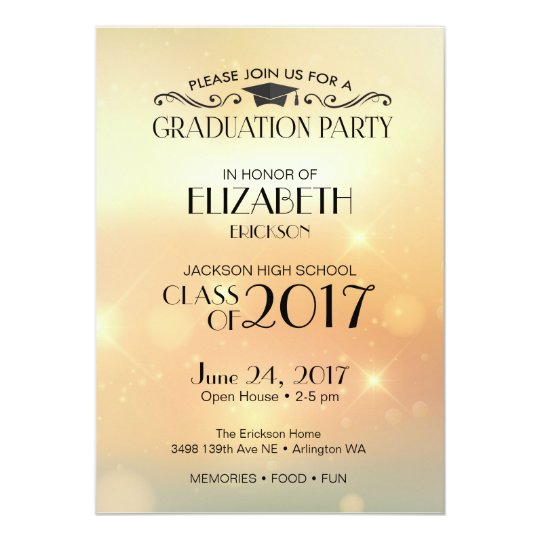 Gold High School Graduation Party Invitation