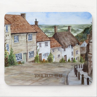 Gold Hill, Shaftesbury, Dorset Watercolor Painting Mouse Pad