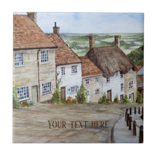 Gold Hill, Shaftesbury, Dorset Watercolor Painting Tile