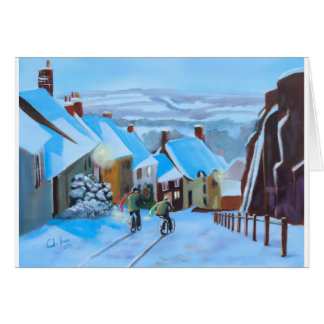 Gold Hill Shaftesbury winter snow scene Card