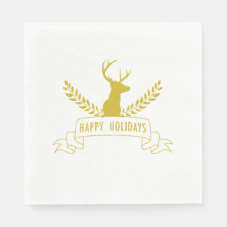 Gold Holiday Antlers | Holiday Paper Napkins
