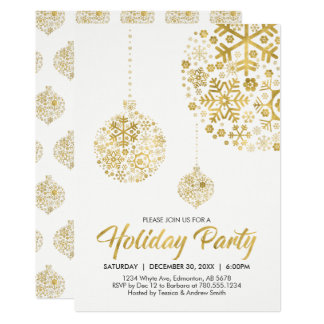 Gold Holiday / Christmas Party Invitation Card
