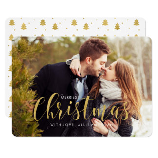 Gold Holiday Pines Photo Greeting Card